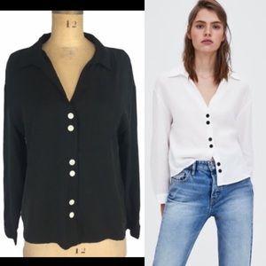 Zara Buttoned Front Black Shirt Size L